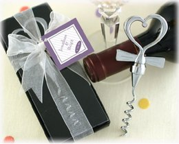 Wholesale Sheer Ribbon Wholesale - Free shipping 100 pieces lot wedding favor--Tuxedo Heart Corkscrew in Gift Box with Sheer Organza Ribbon and Tag