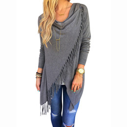 Wholesale Poncho Cardigans - Wholesale-August 2016 Women Long Sleeve Knitted Cardigan Loose Casual Irregular Poncho Outwear Wrap Fringe New Style Tassel Sweater