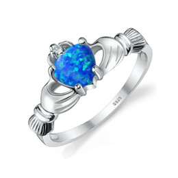 Wholesale Blue Opal Heart - New Claddagh Women ring Blue Opal AAAAA Zircon Cz White Gold Filled Engagement wedding Band ring for women Fashion Jewelry