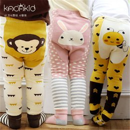 Vêtements de marque renard en Ligne-Marque Vêtements Cartoon Stripe Bébé Leggings Coton Élastique Doux Filles PP pantalon renard Penguin Lion Enfants Collants