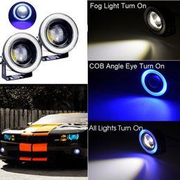 Wholesale Blue Led Halo - 2PCS Car Cob Led Angel Eyes Fog Light Lens Projector Led Halo Ring Waterproof Xenon White Blue Fog Lamp 12V SUV ATV Off Road