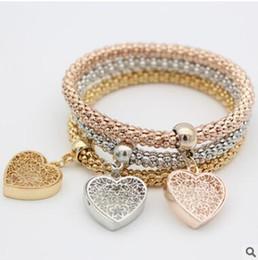 Wholesale love heart bracelet cheap - New cheap elastic corn bracelet suit hollow peach heart three layer love bracelet alloy three colors bracelets