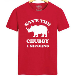Wholesale Red Chubby - Save the rhinoceros T shirt Chubby Unicorns short sleeve gown Kindly tees Leisure unisex clothing Quality cotton Tshirt