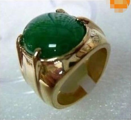 Wholesale Green White Jade Rings - Tibet silver green jade Men's ring size 10#