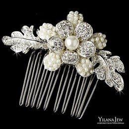 Wholesale Vintage Pearl Hair Barrettes - 2017 New Arrival Fashionable Vintage Beautiful Lace Flowers Bridal Hair Comb Accessories Bands Headbands Bridal Jewelries girl headpieces