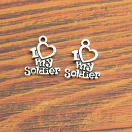 Wholesale Soldier Pendants - Wholesale-10pcs I Love My Soldier Charm Pendant fit Bracelet Necklace Tibetan Silver Plated Jewelry DIY Making Accessories 20x12mm