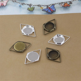 Wholesale Cameos Jewelry Making - BoYuTe 40Pcs 10mm Round Cameo Cabochon Setting Silver Antique Bronze Plated Cabochon Pendant Blank Bezel Tray Diy Jewelry Making