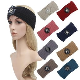 Wholesale east knitting fashion - New women fashion knitted jewelry beads headbands knit headwrap hats Ladies Warm ear warmers 7 color