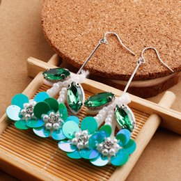 Wholesale Hand Shaped Earrings - New Style Euramerican Fashion Earrings Flower Petal Shape Eardrop Ear Stud Personality Gift 3 Colors Hand-made Ornaments Drop Shipping