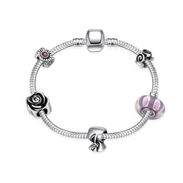 Wholesale Wholesale Glass Beads For Sale - Hot Sale Jewelry 925 Silver Bracelets & Bangles Charm Glass Bead Charm Bracelet For Women Good Gift
