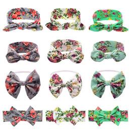 Wholesale Bow Types - 12 Types Baby Headbands Bow Girls Cotton Bunny ear Print Headbands Infant Fine band Floral Elastic Headwear Children Hair Accessories KHA317