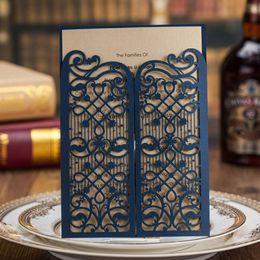 Convites para festa on-line-Atacado-Laser Cut Cartões de Convite de Casamento Convites de Festa Azul Marinho para o Casamento Nupcial Chuveiro Cartão de Aniversário Do Chuveiro de Bebê CW5102