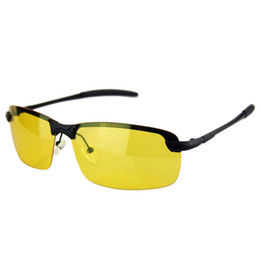 Wholesale Classic Vision - Wholesale- Metal Classic Night Vision Glasses Anti-Glare Noctilucent Safe Driving Sunlasses TAC lenses
