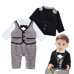 Wholesale Photo Coating - Baby boys Gentlemen Romper 2pc set turn-down collar Bow Houndstooth Romper+Black coat kids outfits Infants photo costume for 1-3T