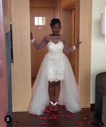 Wholesale Detach Dress - Two In One Pieces Sheer Long Sleeves Applique Wedding Dresses Cheap 2018 Jewel Neck Detach Bottom Reception Short Bridal Gowns African
