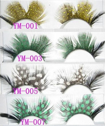 Wholesale Show Strip - E NEW ARRIVAL International color feathers exaggerated false eyelashes Modelling pictorial art show colored eye lashes extension stage