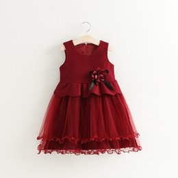 Wholesale Handmade Girls Christmas Clothes - Cute Autumn Winter Spring Girls Dresses With Handmade Flower Toddler Kids Vestidos Xmas Wedding Party Clothes 2 Color