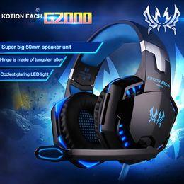 Wholesale Over Ear Headphones Microphones - Kotion EACH G2000 Gaming Headset Over-ear Fone De Ouvido Deep Bass Earphone Stereo Headphones Microphone LED Light for PC Gamer