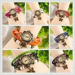 Wholesale Cheapest Digital Watches - DHgate Cheapest Luxury Pastoral Vintage Watch Leaf Pendant Leather Strap Casual Watches Analog Bronze Leaves Women Ladies Quartz watch