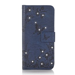 Wholesale Butterfly S6 - Diamonds Butterflies Blossom Embossed PU Leather Flip Cover Phone case For iPhone 7 6 Plus Samsung S8 S7 S6 Edge Huawei P9 Lite