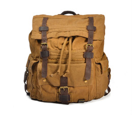Wholesale Military School Bags - Vintage Leather Military Canvas travel Backpacks Men &Women School Backpacks men Travel bag big Canvas Backpack Large bag