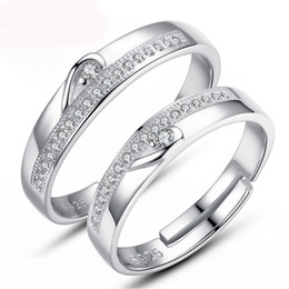 Wholesale Half Heart Stainless Steel - Fashion Jewelry White Gold Plated Half Heart Simple Circle Real Love Couple Ring Wedding Rings Engagement Rings Promise Jewelry