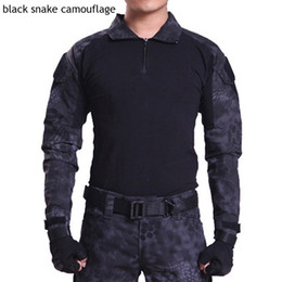 Wholesale Combat Camouflage Uniform - HOT 2017 Outdoor Commando camouflage Frogloks Suit sports Tactical Combat Uniform men's army Military Cargo Hiking Climb Tshirt
