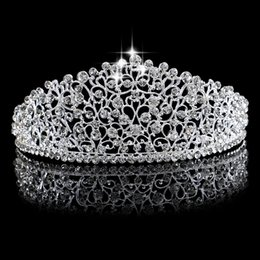 Wholesale New Bridal - New Gorgeous Sparkling Silver Big Wedding Diamante Pageant Tiaras Hairband Crystal Bridal Crowns For Brides Hair Jewelry Headpiece