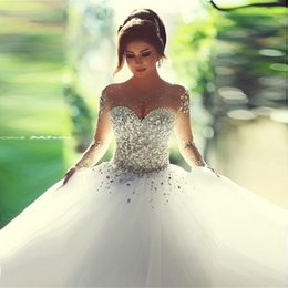Vestiti da cerimonia nuziale dell'abito di sfera dell'innamorato online-Saidmhamad Sweetheart Sheer cristalli pesanti degli abiti di sfera maniche lunghe abito da sposa In magazzino abito da sposa vestido de Noiva