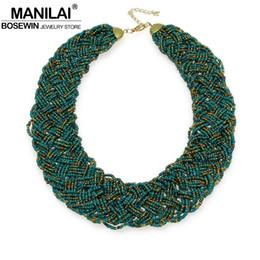 Wholesale handmade beaded necklaces for women - Wholesale- MANILAI Vintage Beaded Handmade Chunky Chain Bib Choker Collar Statement Necklace Boho Ethnic Maxi Necklaces For Women kolye