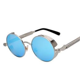 Wholesale Mens Circle Sunglasses - New Fashion Gothic Steampunk Mens Women Unisex Sunglasses Coating Mirrored Sunglasses Round Circle Sun glasses Retro Vintage Glasses dhP-107