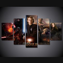star wars cartoon pictures with best reviews - 5 Pcs Set Framed HD Printed star wars episode 3 revenge movie Group Painting room decor print poster picture canvas Free shipping ny-1368