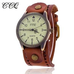 Wholesale Men Watches Vintage Oval - eminino casual CCQ Brand Women Vintage Cow Leather Bracelet Watch Men Casual Sport WristWatch Luxury Quartz Watch Male Relogio Feminino 1...