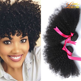 Wholesale Cheap Afro Hair Extensions - Factory 7A Brazilian Peruvian Malaysian Indian Human Hair Bundles Cheap Virgin Human Afro Hair Extension Natural Color Can Be Dyed 4Bundles