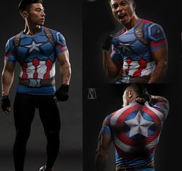 Wholesale Free freight T Shirt Captain America Shield Civil War Tee D Printed T shirts Men Marvel Avengers iron man Fitness Clothing Male