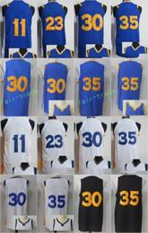 Wholesale Vintage Army - 2018 Vintage 35 Kevin Durant Jersey 17-18 Men 30 11 Klay Thompson 23 Draymond Green Sports Jerseys Stitched Black Blue White