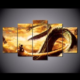 Wholesale Dragon Sheets - 5 Pcs Set Framed HD Printed Cartoon Dragon Ball Z Picture Wall Art Canvas Print Room Decor Poster Canvas Pictures Painting