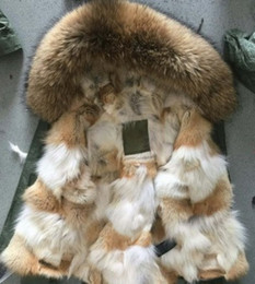 Wholesale Mr Natural - brown Mr & Mrs Italy canvas coats mini wolf fur parka Mr & Mrs itlay natural coyote fur lined coats