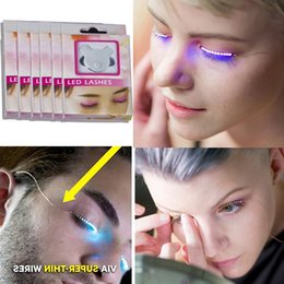 Wholesale Eyelid Strips - Led Lashes Interactive Glowing False Eyelashes for Christmas Halloween Party Toys 3d LED Strips Light False Eyelash Sticker eyelid