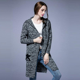 Wholesale crocheted coat - Plus Size CLothing Women Autumn Fall Winter Thick Cardigans Long Sweaters Knitted Pockets Stars Design Coats