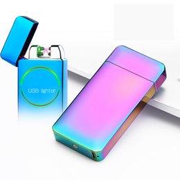 Dupla usb isqueiro do cigarro on-line-Venda por atacado - novo criativo metal USB carregamento duplo dual-arco de pulso de indução fotoelétrico Recarregável isqueiros isqueiro à prova de vento