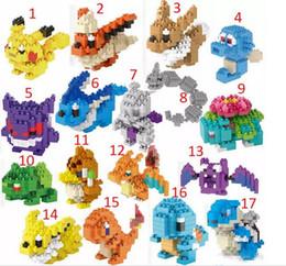 Wholesale Turtle Diy - Poke go Pikachu Minifigure DIY LNO Building Blocks 17 style gengar Lapras Charmander Bulbasaur Jeni turtle Diamond Brick Toys DHL Shipping