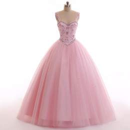 Wholesale Beautiful Bones - Luxury Heavy Beading Pink Quinceanera Dresses 2018 Puffy Ball Gown Beautiful Party Vestidos Sweet 1a Sweet 16 Party Prom Gowns Fast Shipping