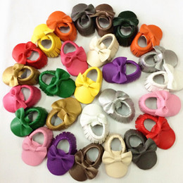 Wholesale Wholesale Moccasins Boots - Baby First Walkers Handmade Soft Bottom Fashion Bow Moccasin Newborn Infant Shoes PU leather Prewalkers Boots