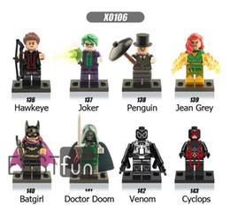 Wholesale Mini Figure Marvel - Mini Figures Marvel Building Blocks Hawkeye Joker Penguin Jean Grey-Summers Batgirl Doctor Doom Venom Cyclops Action Figures Blocks