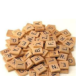 Wholesale Wood Tiles - 100Pcs Wooden Alphabet Scrabble Tiles Black Letters & Numbers For Crafts Wood Digital Puzzle CX885621