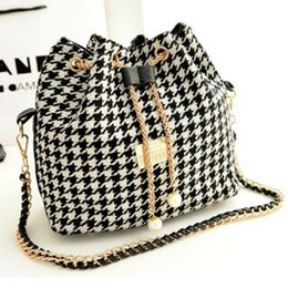 Wholesale Drawstring Handbag Zipper - Wholesale- Fashion Folk Style Canvas Drawstring Bucket Bag Shoulder Handbags Lady Faux Pearl Letter Bucket Tote Shoulder Crossbody Bag