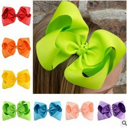 Wholesale Big Barrette Hair Clip - Baby girls big bows hairpin 8 Inch Large Grosgrain Ribbon Bow Hairpin Clips Kids Hairpin Boutique Bows Children Hair Accessories T4467
