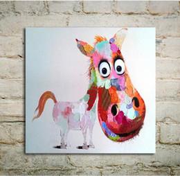 Telai di pittura ad olio moderna online-No Frame Modern Art Pittura ad olio Rosa Logy Asino su tela Decorazione della parete dipinta a mano per la camera dei bambini