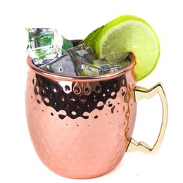 Wholesale Wholesale Cups Plates - 530ml Moscow Mule Mug Stainless Steel Hammered Copper with Handle Plating Hammered Drum Style Beer Drink Cups Free Shipping